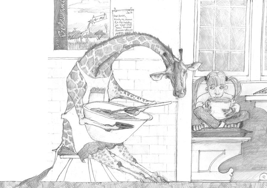 Lolo Giraffe. (Drawing of giraffe stirring pancake batter.  Graphite on paper, © Melinda Nettles 2014.)