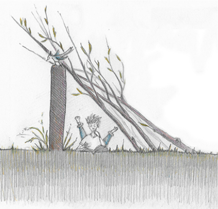 Sketch of a lean-to made of lovely branches leaned on a wall.  Pencil and colored pencil on paper.
