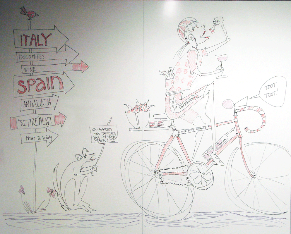 Drawing of woman on bicycle, eating cherries, and drinking Bordeaux.  Dry-erase marker on white board, 2016.