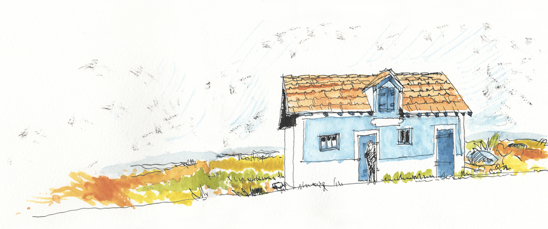 Illustration of blue house in the North of France.  (Watercolor & india ink, © Melinda Nettles 2015.)