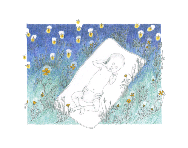 Drawing of a little baby in a field of poppies, with fireflies.  © 2015 Melinda Nettles|Lean2creativeworks